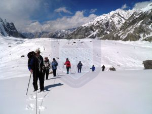 Trekking group Marching up to K2 base camp Concordia