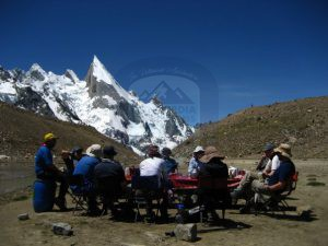 Trekking group enjoying the meal under laila peak