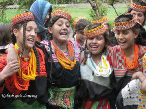 kalash girls gathered on a Festival