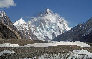 K2 8611m Standing over Baltoro glacier ( second highest in the world)