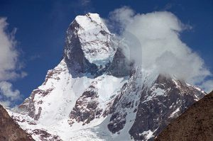 Muztagh Tower From Baltoro Glacier On Trek From Goro II to Concordia