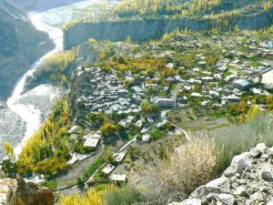 Aerial View of Altit Valley And River Hunza