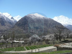 Panorama view of Diran & Rakaposhi peaks From Hunza Valley