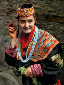 Kalash young girl in traditional dress